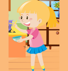 girl holding spoon and bowl vector image