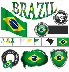 glossy icons with flag of brazil vector image vector image