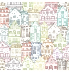 Hand Drawn Houses Seamless Pattern vector image vector image