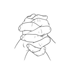 hand hold hand vector image vector image
