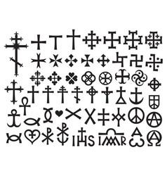 Heraldic crosses and christian monograms vector