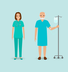 Hospital staff nurse and old patient with drop vector