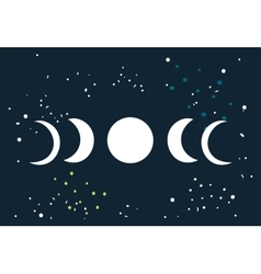 Lunar eclipse moon phases circle with stars space vector