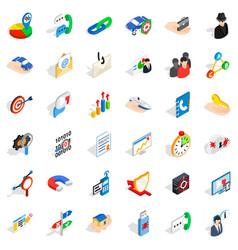 Management icons set isometric style vector