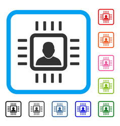 neuro processor framed icon vector image vector image