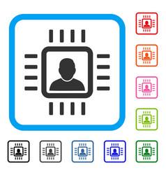 Neuro processor framed icon vector