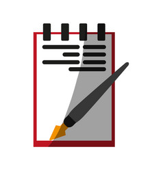 notepad with fountain pen icon image vector image
