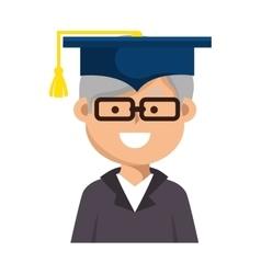 Old man graduate character vector