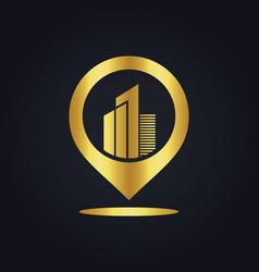 Position gps building town gold logo vector