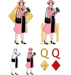 Queen of diamonds asian woman photographer Mafia vector image vector image