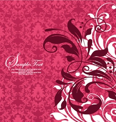 RED DAMASK FLORAL BACKGROUND vector image