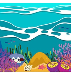 Sea animals under the ocean vector