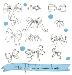 Set of vintage colorless bows vector