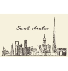 Skyline saudi arabia drawn sketch vector