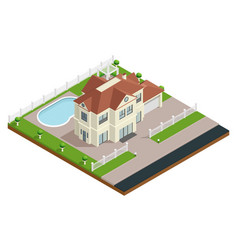 suburb house building composition vector image vector image