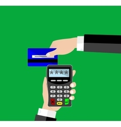 Terminal with inserted credit card vector