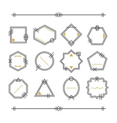 trendy black and golden empty line blank emblems vector image