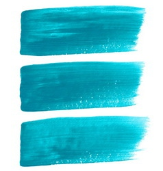 Turquoise ink brush strokes vector
