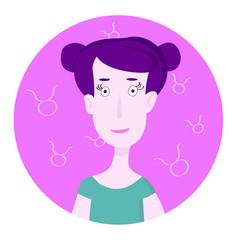 Woman cartoon portrait representing taurus zodiac vector