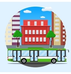 Green city busin front of houses vector