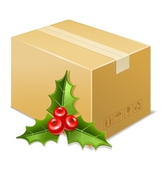 Christmas box icon mistletoe vector