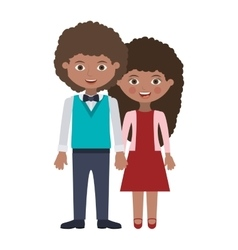 Couple of brunette person togheter vector