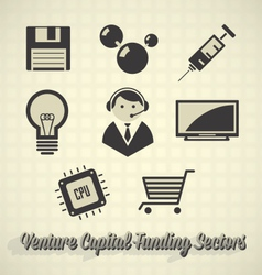Venture Capital Funding Icons vector image