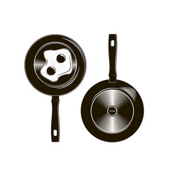 Frying pan with long handle described in vector
