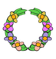 Memorial wreath of flowers icon icon cartoon vector