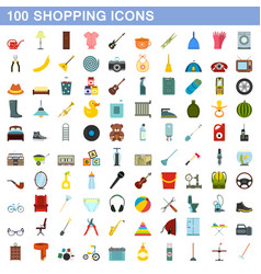 100 shopping icons set flat style vector