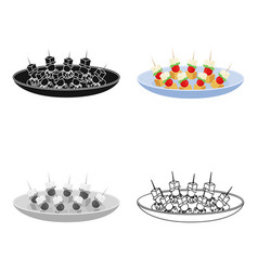 canape on the plate icon in cartoon style isolated vector image