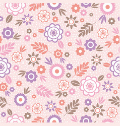 Seamless pattern with flowers and leafs ideal for vector