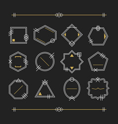 Trendy white and golden empty line white emblems vector