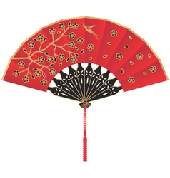 Red silk chinese fan with flowers and bird vector