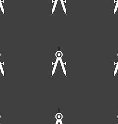 Mathematical compass sign icon seamless pattern on vector
