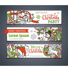 Set of cartoon christmas banners vector