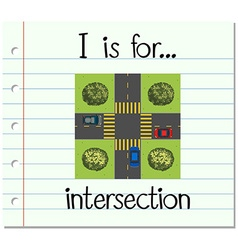 Flashcard letter i is for intersection vector