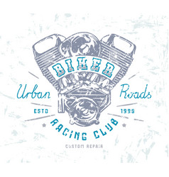 Biker club emblem for t-shirt vector