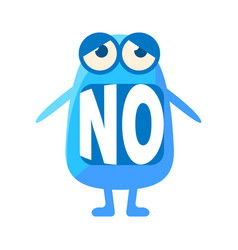 Blue blob saying no cute emoji character with vector