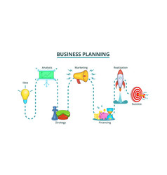 Business plan way banner horizontal cartoon style vector