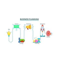 Business plan way banner horizontal cartoon style vector