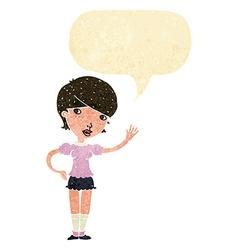 Cartoon girl waving with speech bubble vector