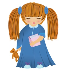 Cartoon sleepy girl vector image vector image