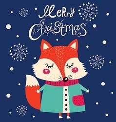 Christmas fox design vector