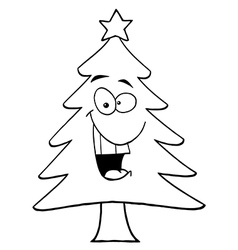 Christmas tree cartoon vector image vector image