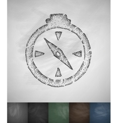 Compass icon hand drawn vector