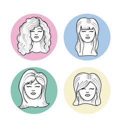 Cute woman face with hairstyle and expression vector