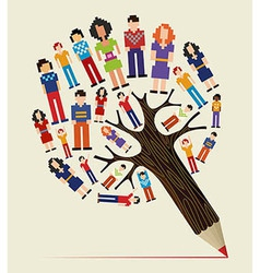 Diversity people concept pencil tree vector