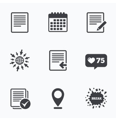 Document icons Upload file and checkbox vector image vector image