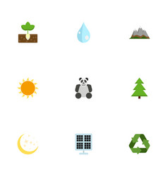 Flat icons sprout water landscape vector